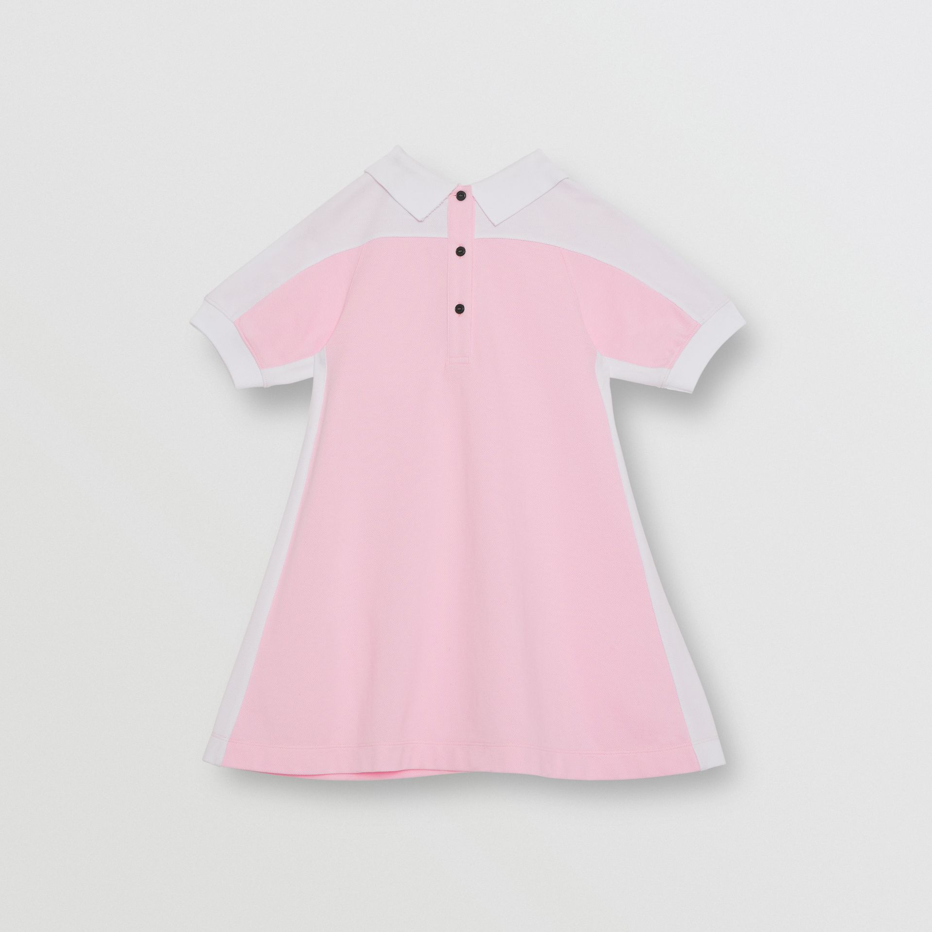 Embossed Logo Cotton Piqué Polo Dress in Pale Neon Pink | Burberry - gallery image 3