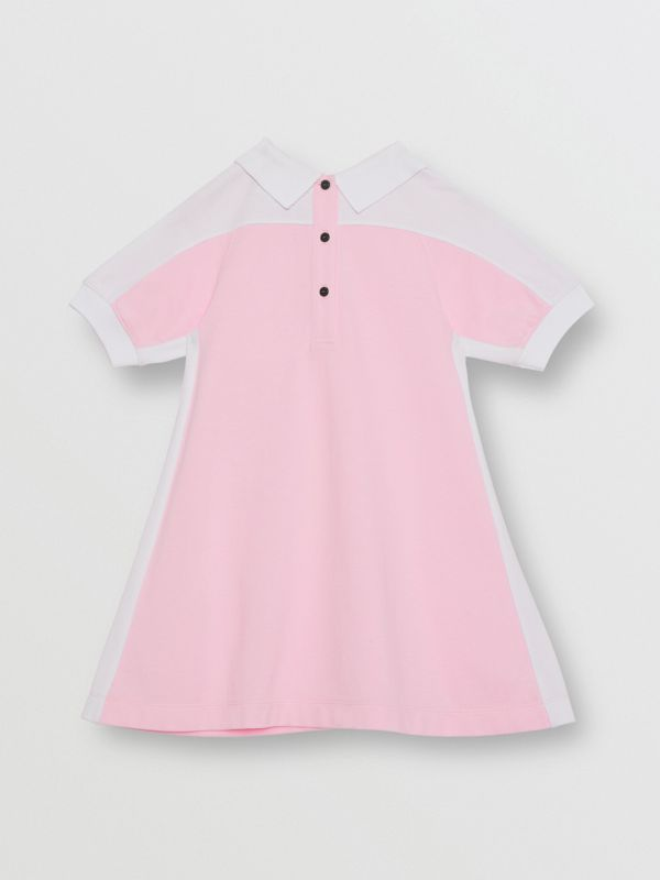 Embossed Logo Cotton Piqué Polo Dress in Pale Neon Pink | Burberry - cell image 3