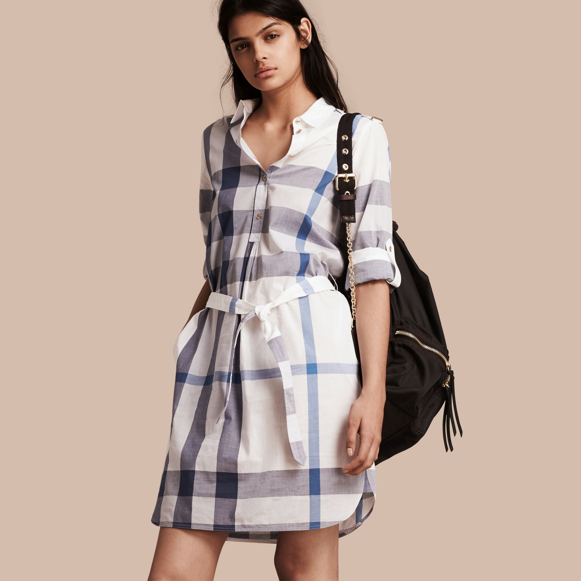Ink blue Check Cotton Shirt Dress Ink Blue - gallery image 1