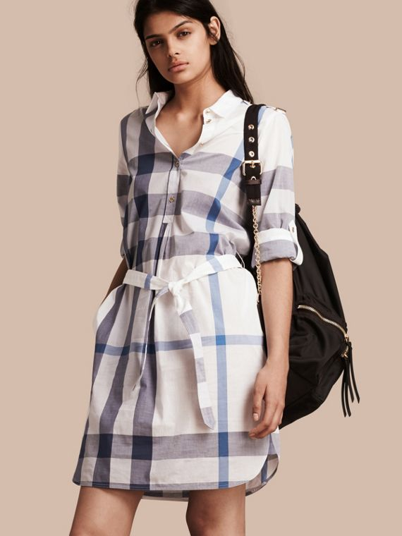Check Cotton Shirt Dress Ink Blue