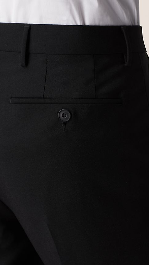 Black Slim Fit Wool Mohair Trousers - Image 3
