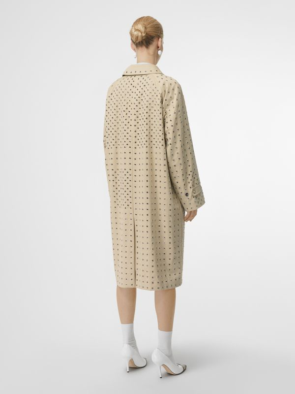 Eyelet Detail Cotton Car Coat in Light Beige - Women | Burberry - cell image 2