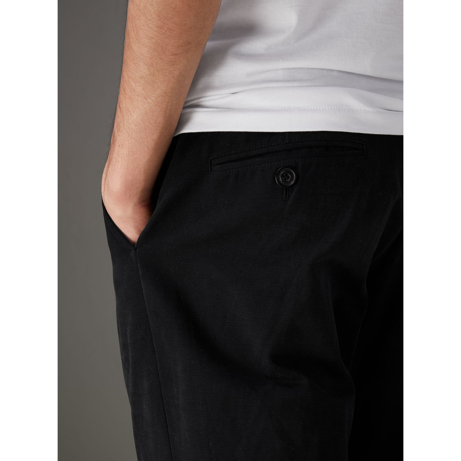 Cotton Canvas Wide Leg Trousers in Black - Men | Burberry United Kingdom - gallery image 1