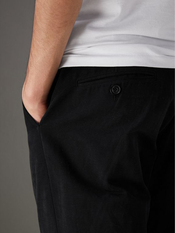 Cotton Canvas Wide-leg Trousers in Black - Men | Burberry - cell image 1