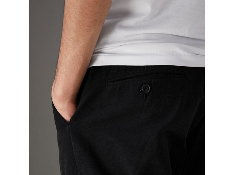 Cotton Canvas Wide Leg Trousers in Black - Men | Burberry United Kingdom - cell image 1