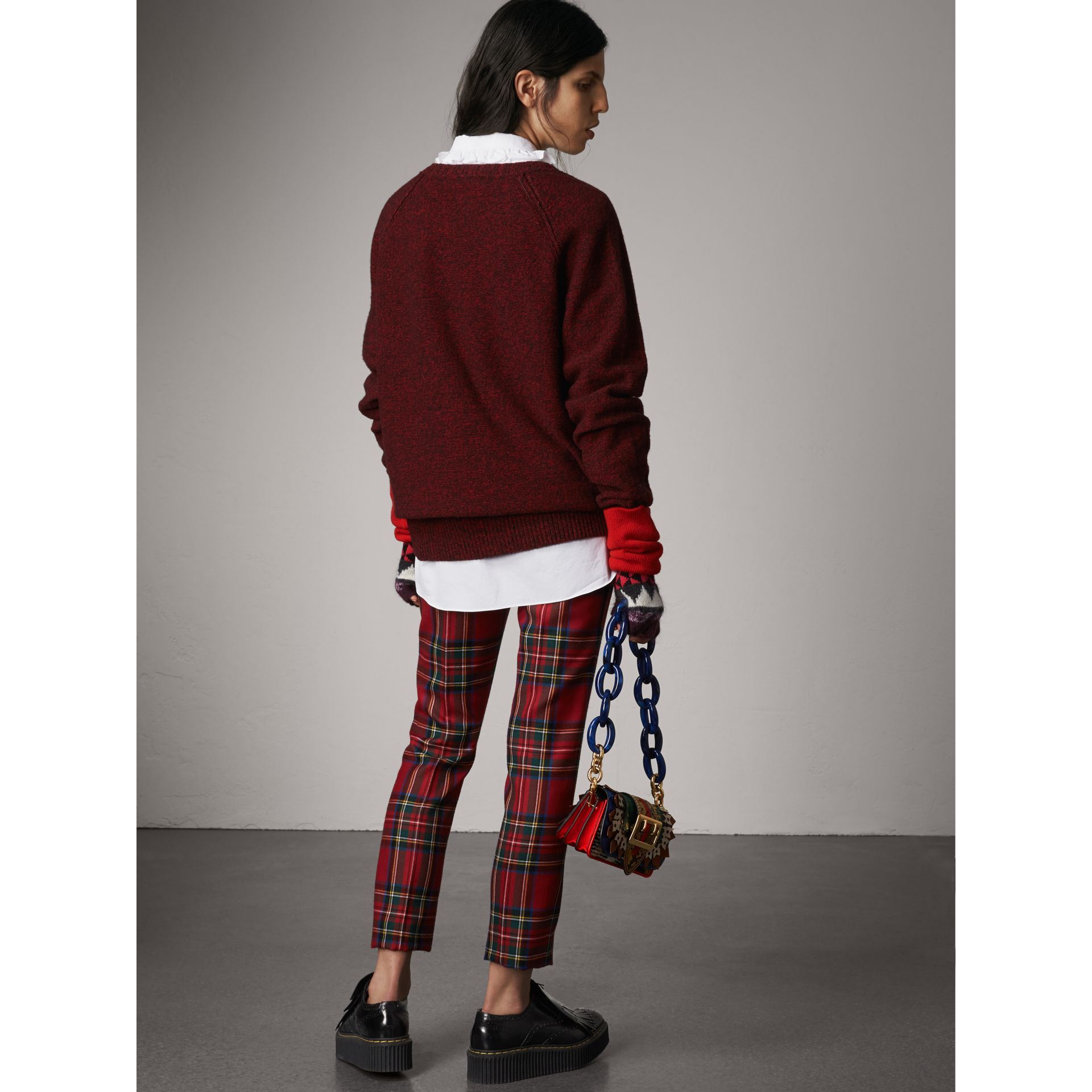 Melange Wool Sweater in Parade Red - Women | Burberry - gallery image 3