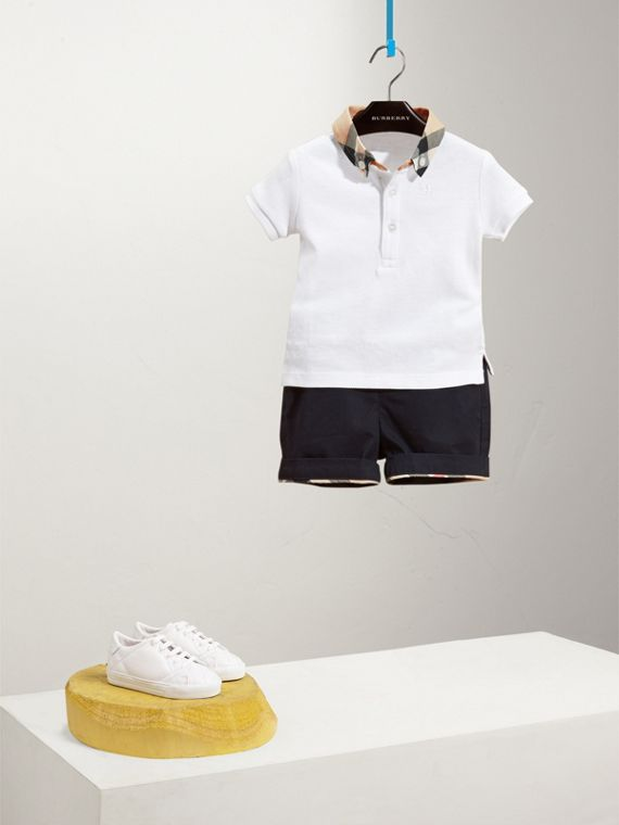 Check Collar Cotton Polo Shirt in White