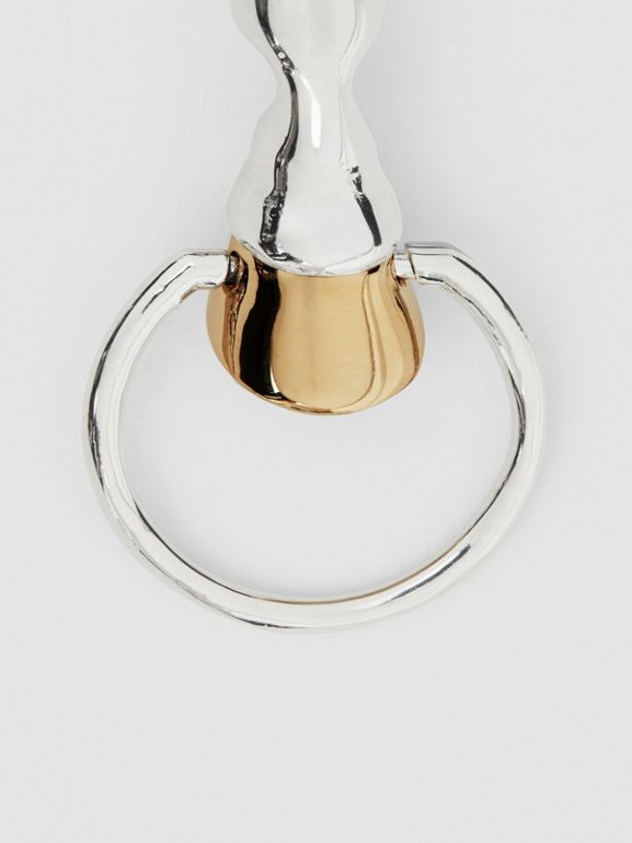 Palladium and Gold-plated Hoof Hoop Earrings in Palladium/light - Women | Burberry United Kingdom - cell image 1