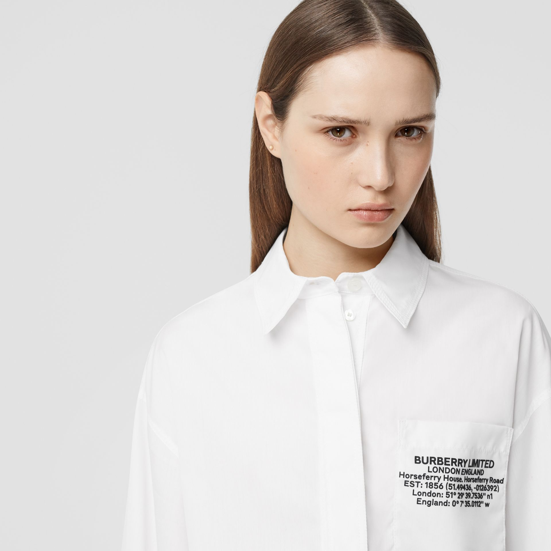 Location Print Cotton Poplin Oversized Shirt in Optic White - Women | Burberry - gallery image 1