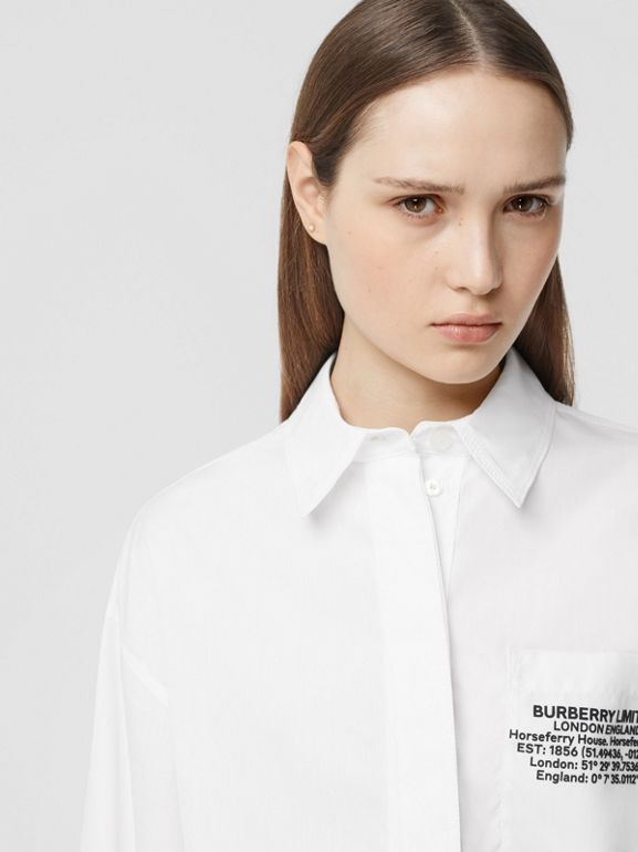 Location Print Cotton Poplin Oversized Shirt in Optic White - Women | Burberry - cell image 1