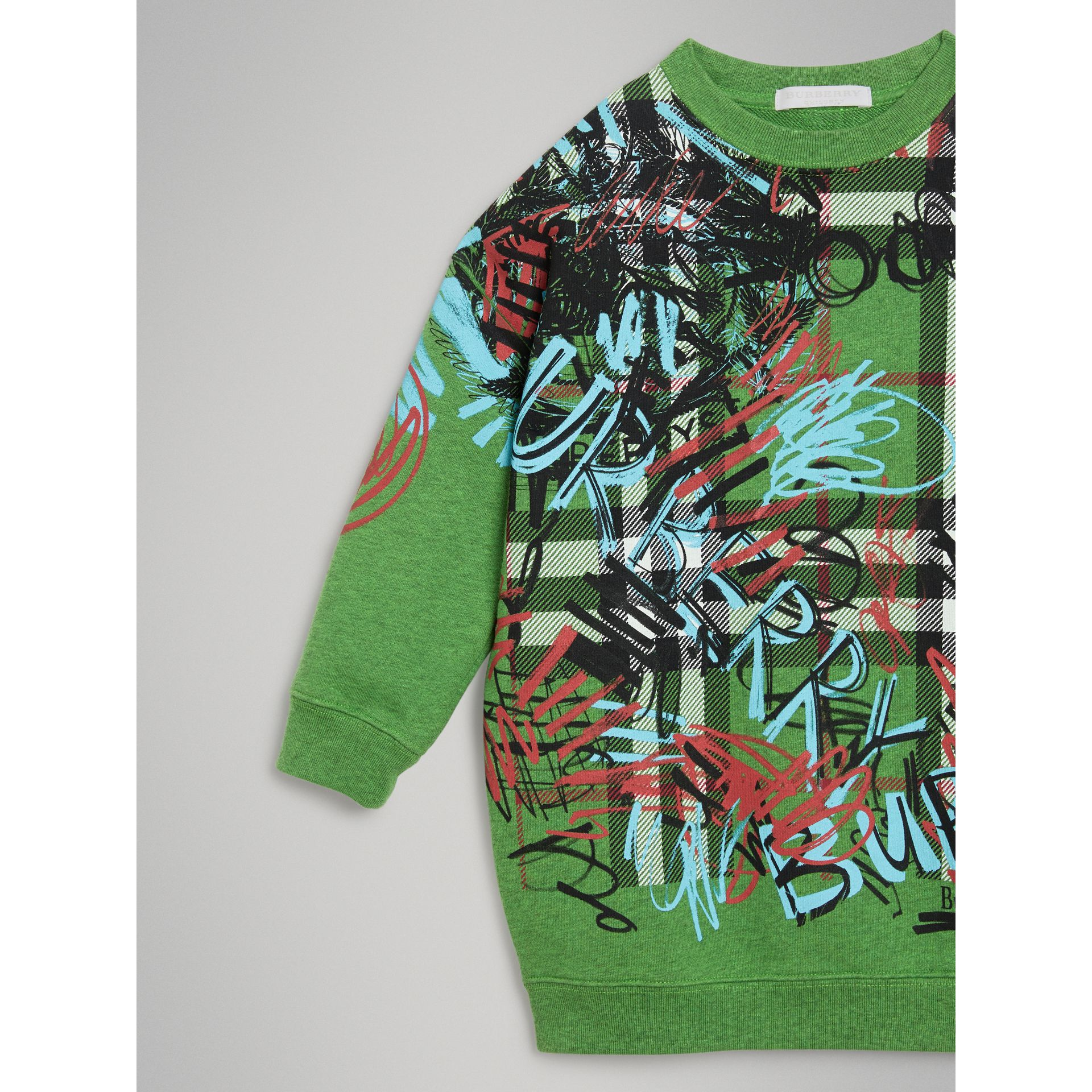 Graffiti Scribble Check Print Cotton Sweatshirt in Lime Green - Girl | Burberry - gallery image 4