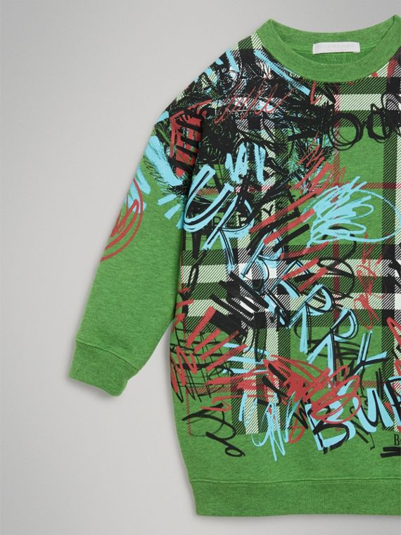 Graffiti Scribble Check Print Cotton Dress in Lime Green - Girl | Burberry - cell image 3