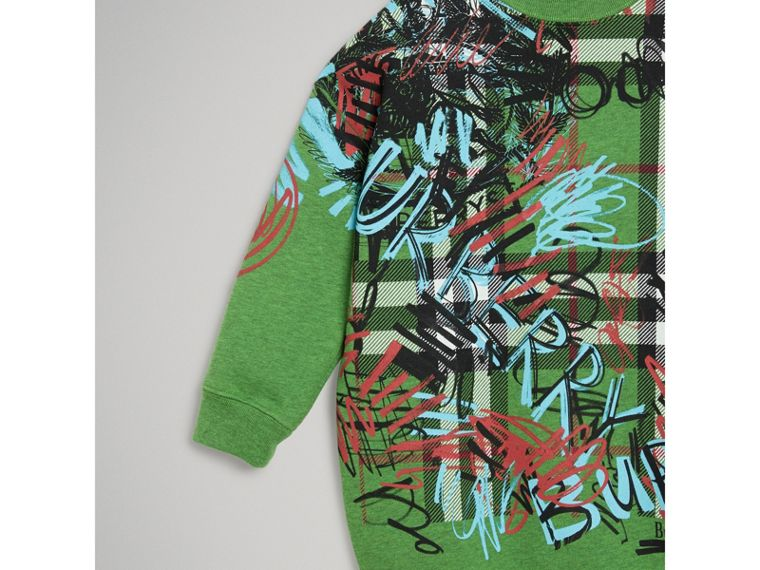 Graffiti Scribble Check Print Cotton Sweatshirt in Lime Green - Girl | Burberry - cell image 4