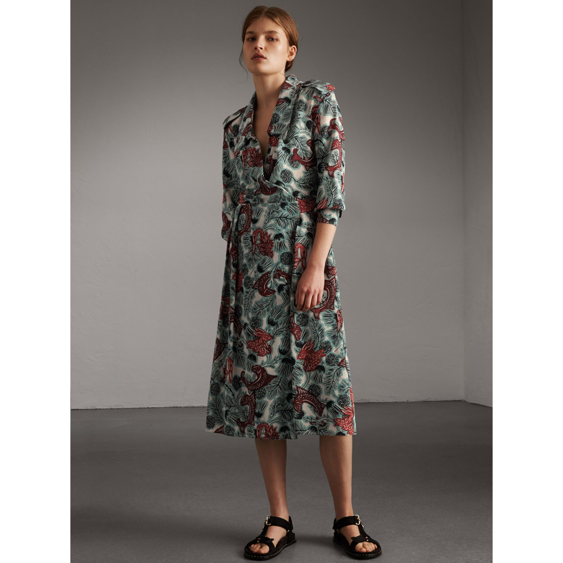 Beasts Print Silk Wrap Dress - Women | Burberry Australia - gallery image 1
