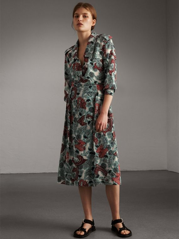 Beasts Print Silk Wrap Dress in Pale Celadon