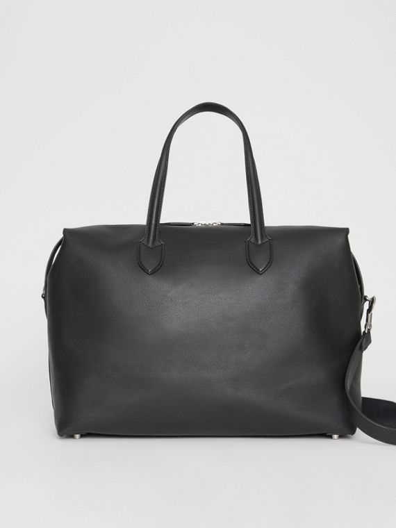 Soft Leather Holdall in Black