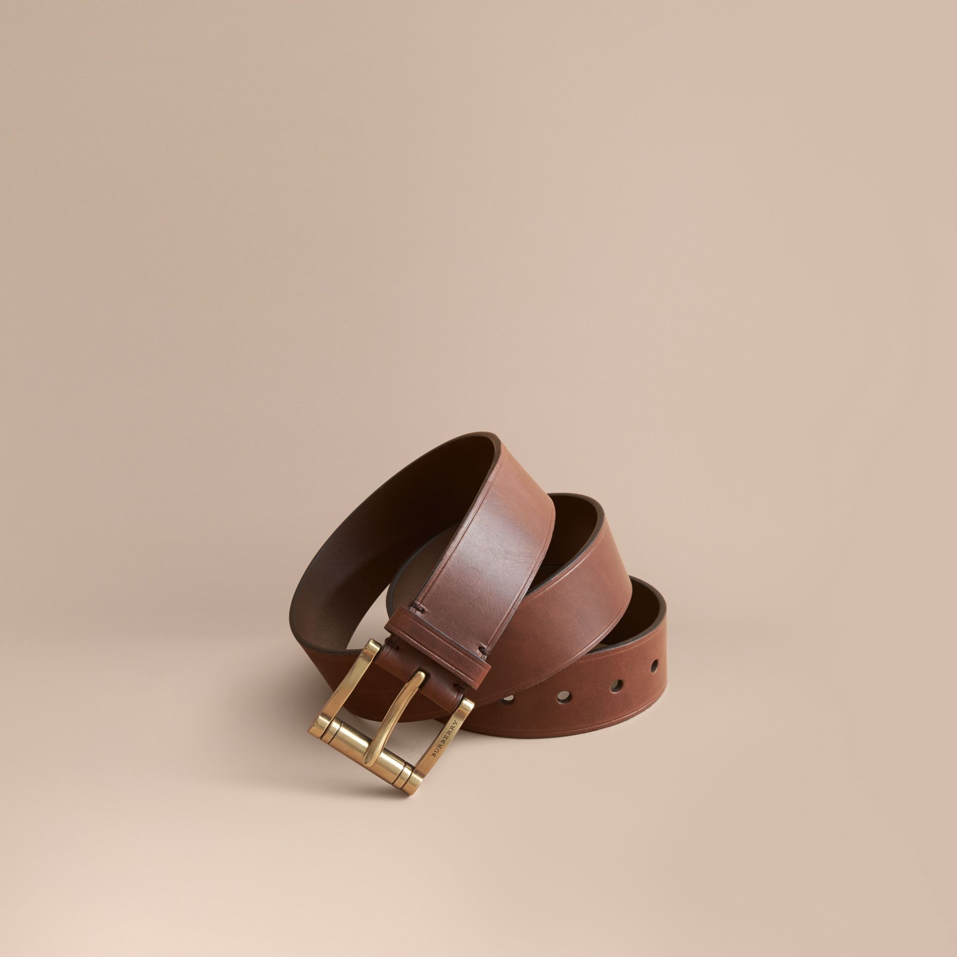 Brass Buckle Leather Belt in Auburn - Men | Burberry Australia - gallery image 1