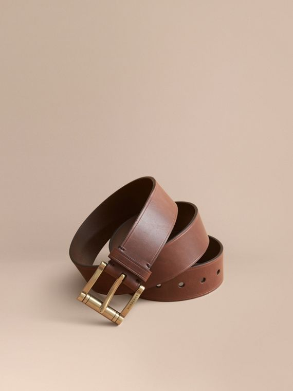 Brass Buckle Leather Belt in Auburn - Men | Burberry Australia