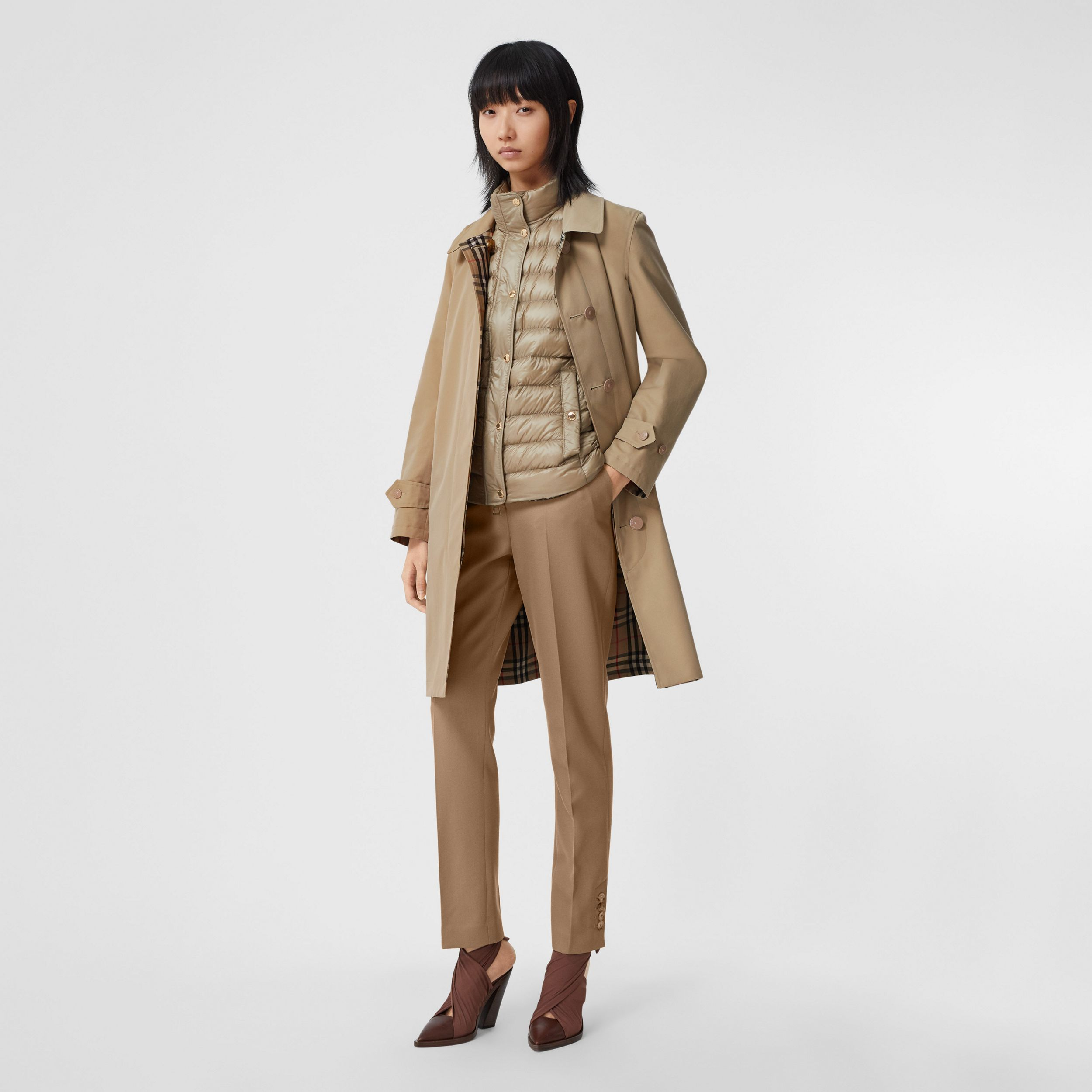 Reversible Cotton and Vintage Check Car Coat in Honey - Women | Burberry - 1