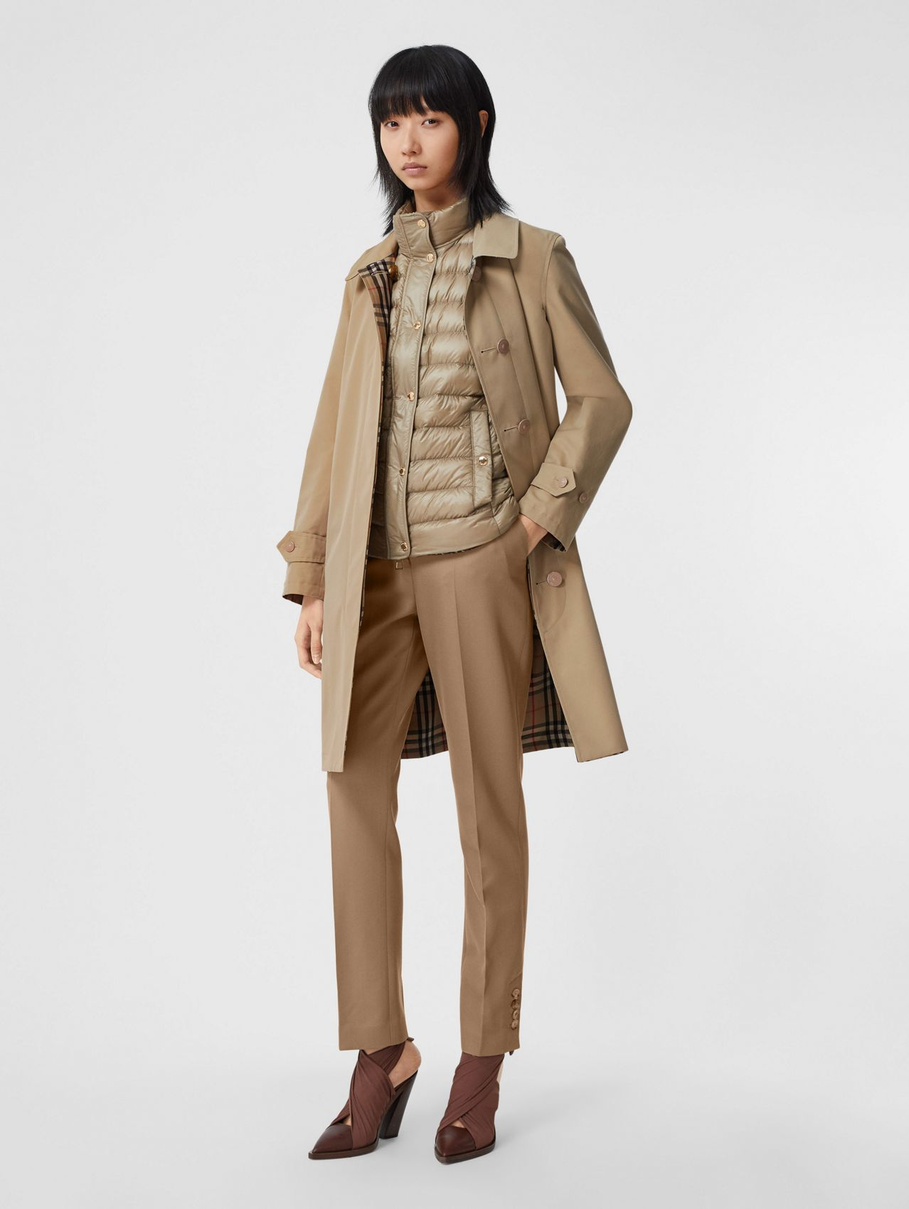 Reversible Cotton and Recycled Polyester Car Coat in Honey
