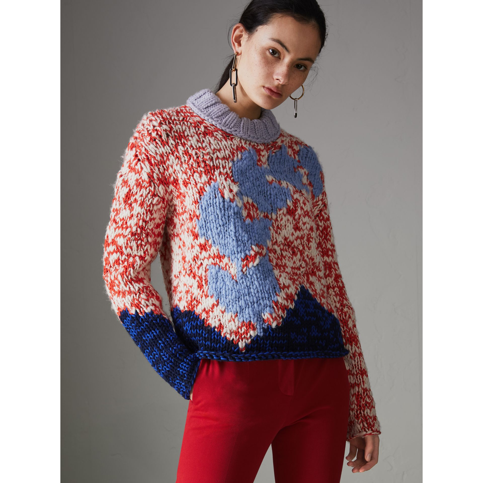 Chunky Knit Wool Blend Sweater in Bright Red - Women | Burberry - gallery image 5