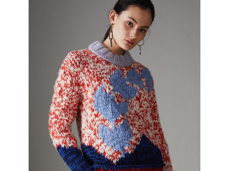 Chunky Knit Wool Blend Sweater in Bright Red - Women | Burberry United Kingdom - cell image 4