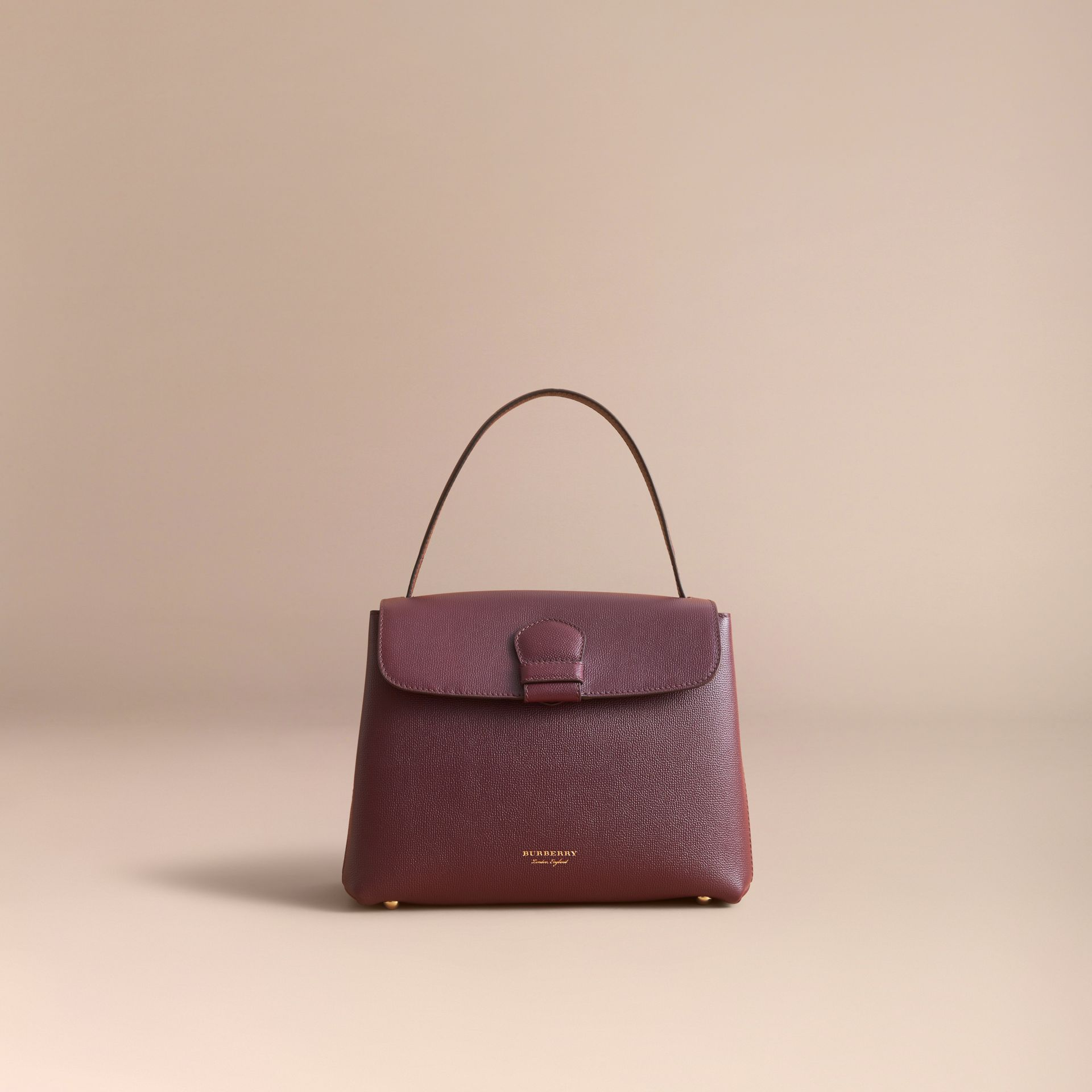 Medium Grainy Leather and House Check Tote Bag in Mahogany Red - Women | Burberry - gallery image 7