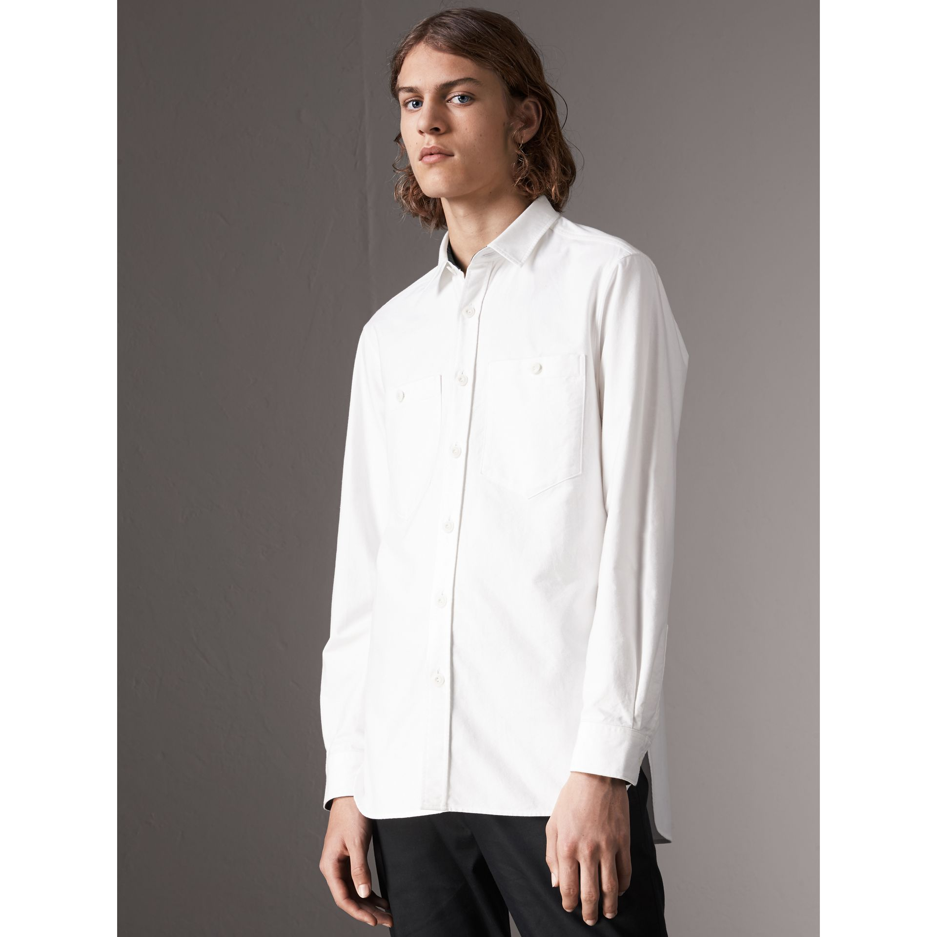 Cotton Oxford Shirt in White - Men | Burberry Australia - gallery image 1