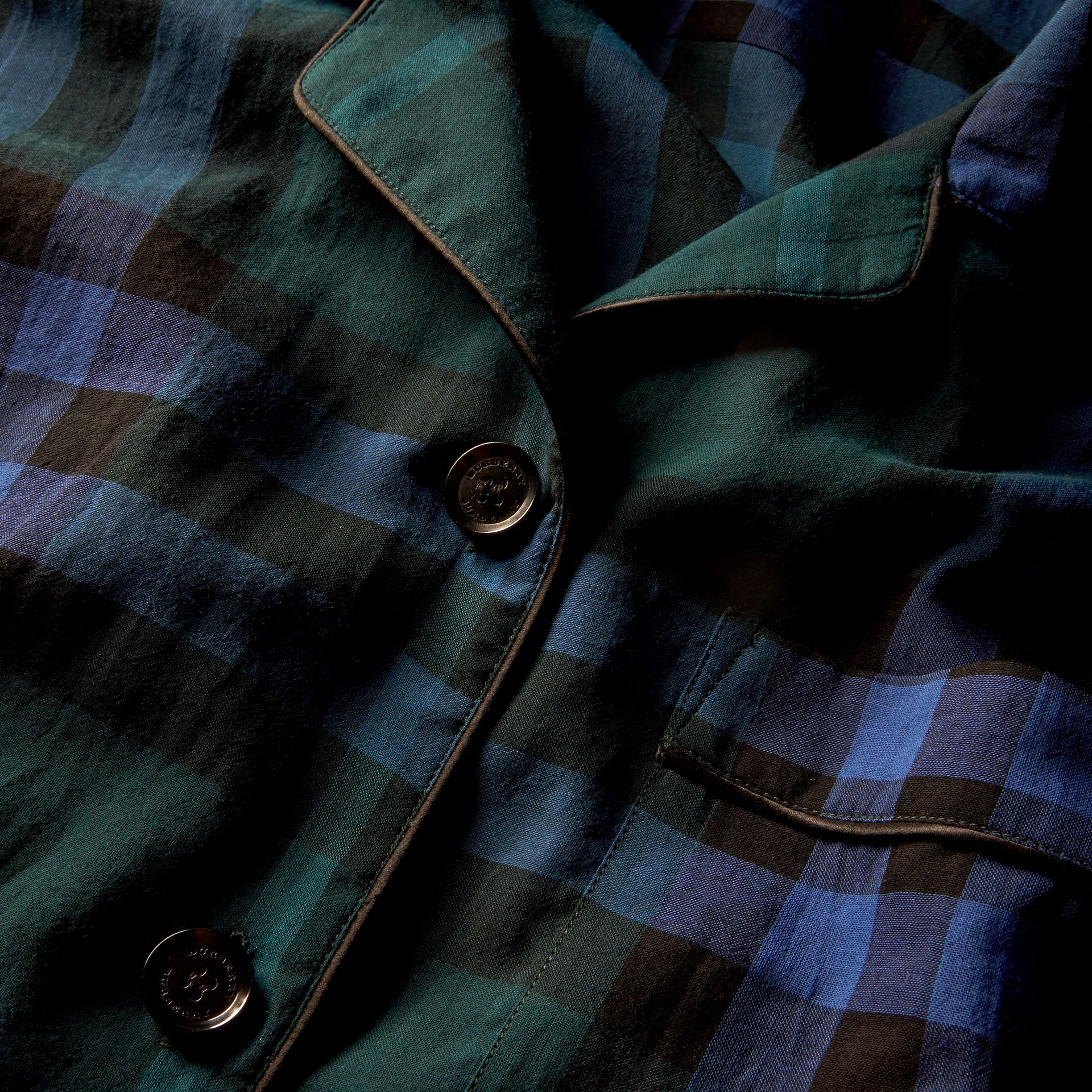 Check Cotton Pyjama-style Shirt in Dark Teal - gallery image 2