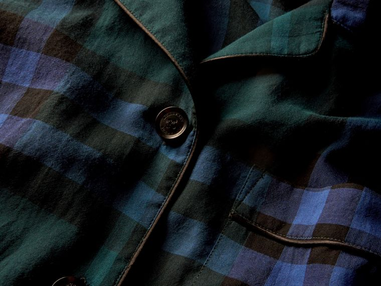 Dark teal Check Cotton Pyjama-style Shirt Dark Teal - cell image 1