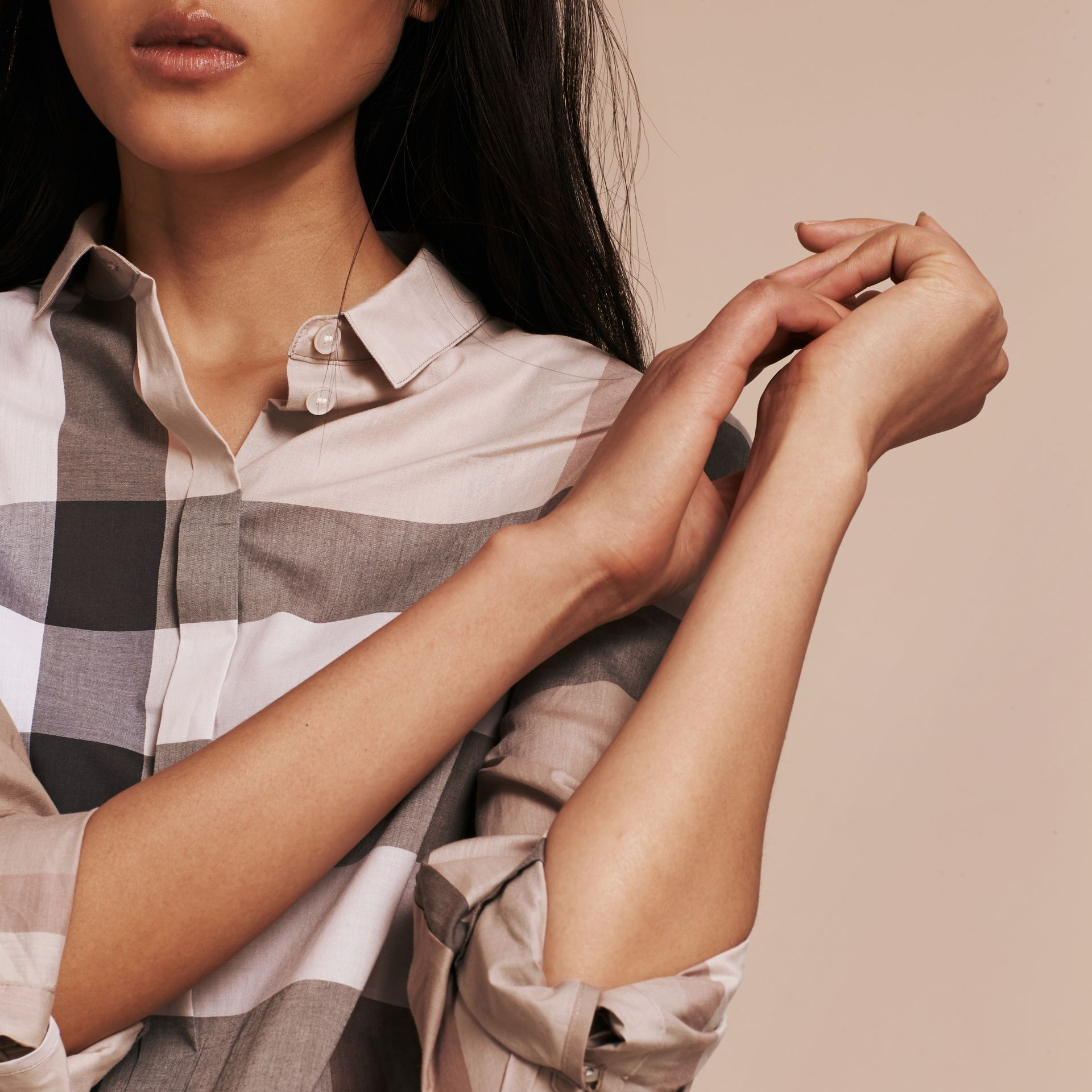 Check Cotton Shirt in Pale Stone - Women | Burberry - gallery image 5