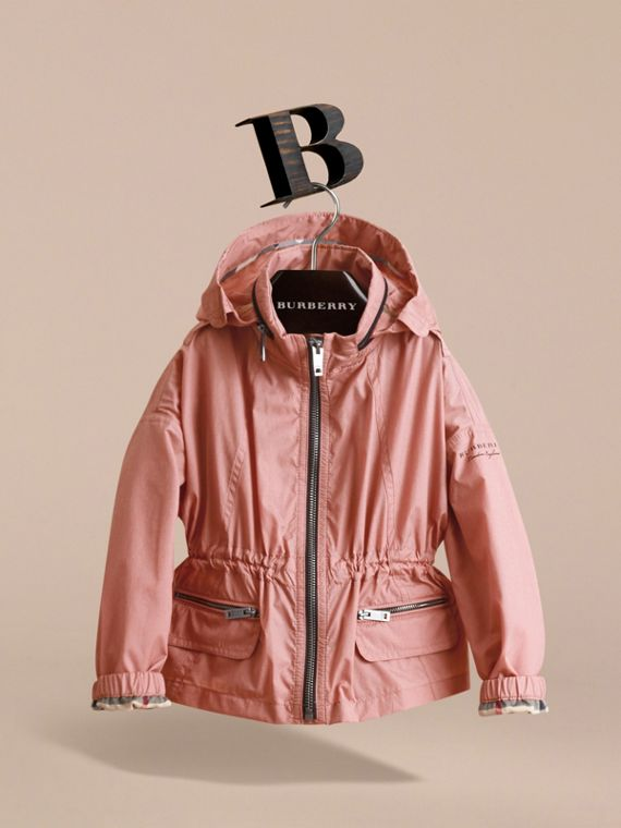 Packaway Hood Showerproof Jacket with Check Detail in Rose Pink - Girl | Burberry Singapore - cell image 2