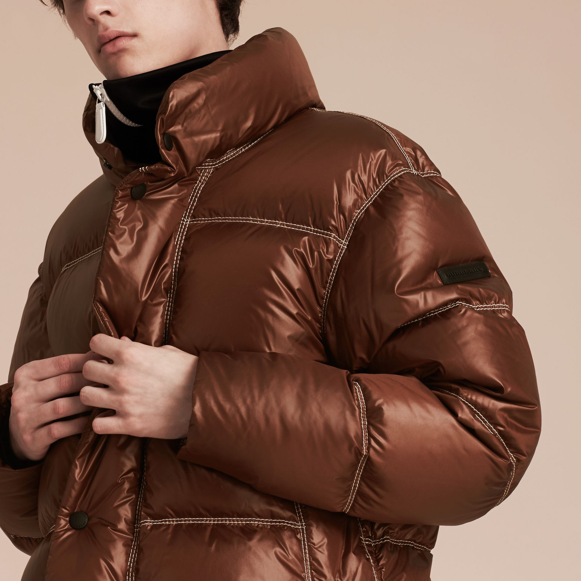 Chestnut brown Down-filled Puffer Jacket - gallery image 6