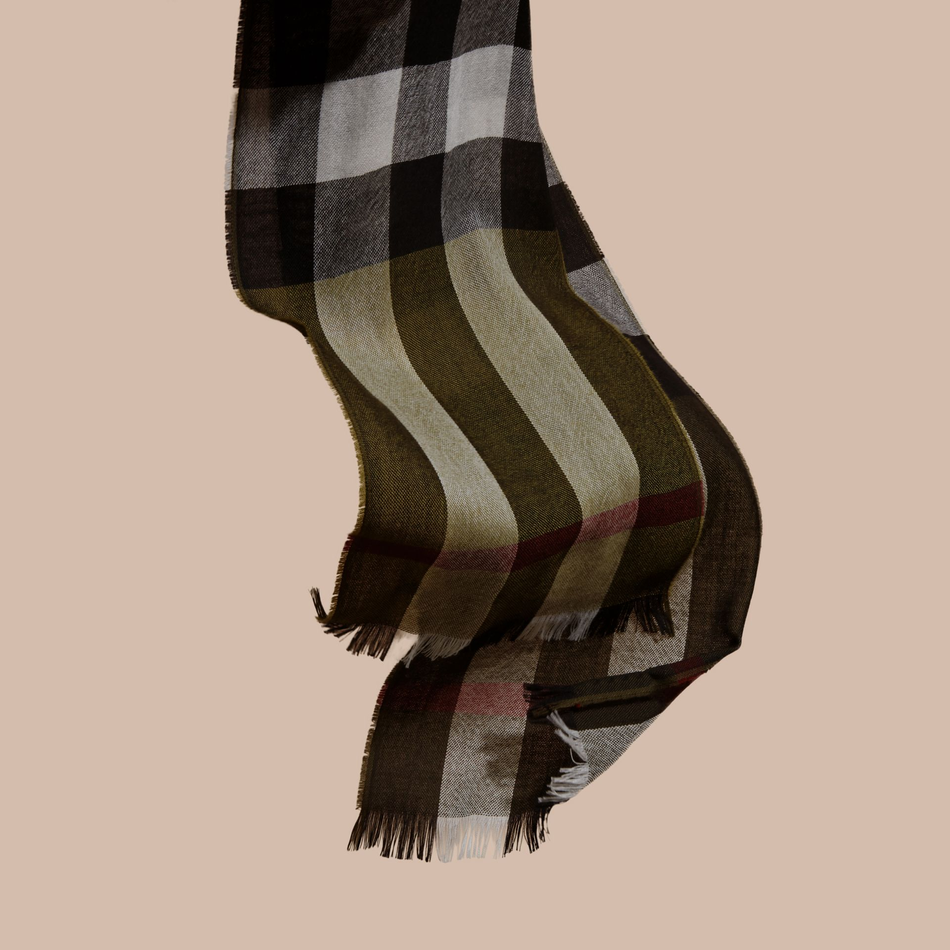 Olive Check Merino Wool Scarf - gallery image 3