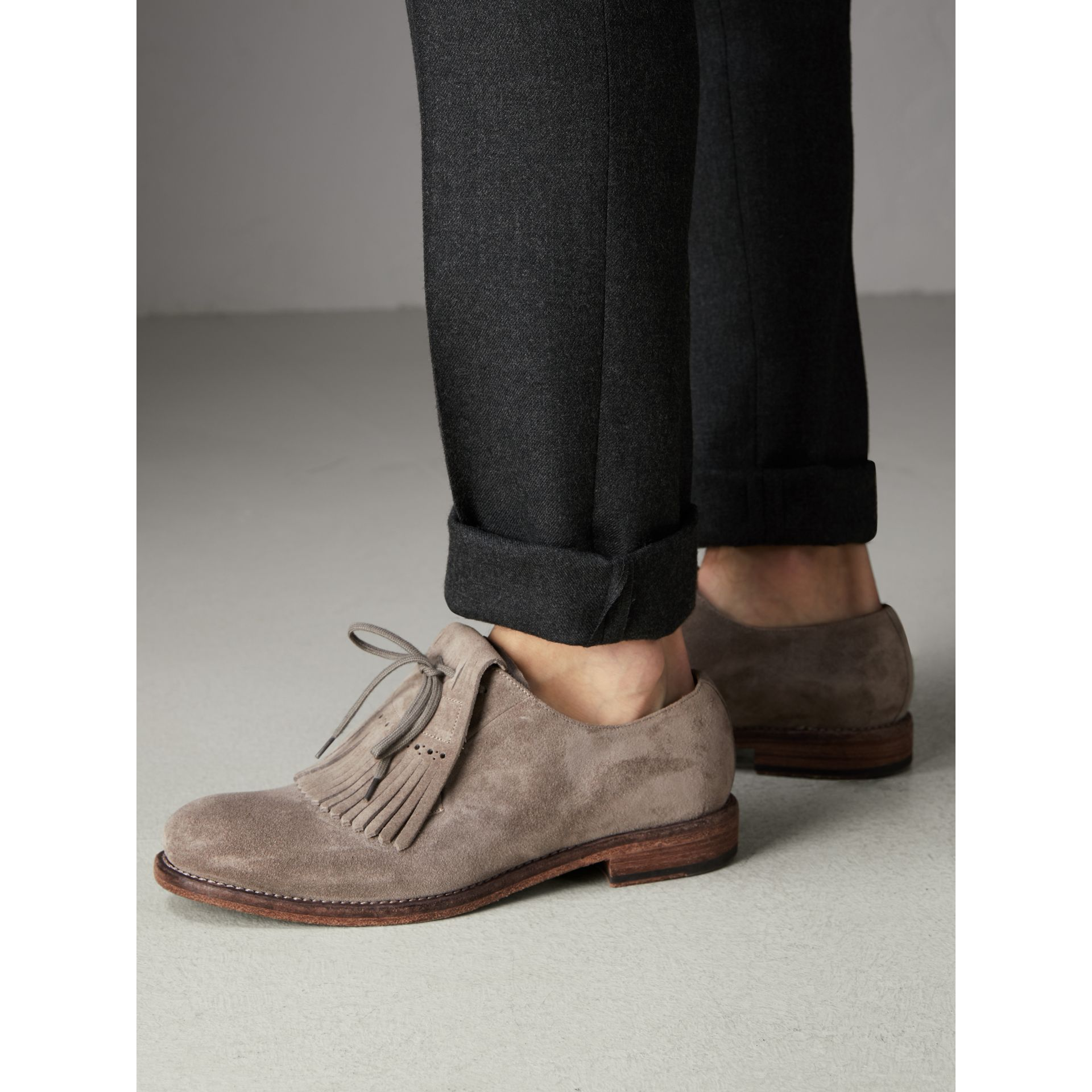 Lace-up Kiltie Fringe Suede Loafers in Steel Grey - Men | Burberry United Kingdom - gallery image 2
