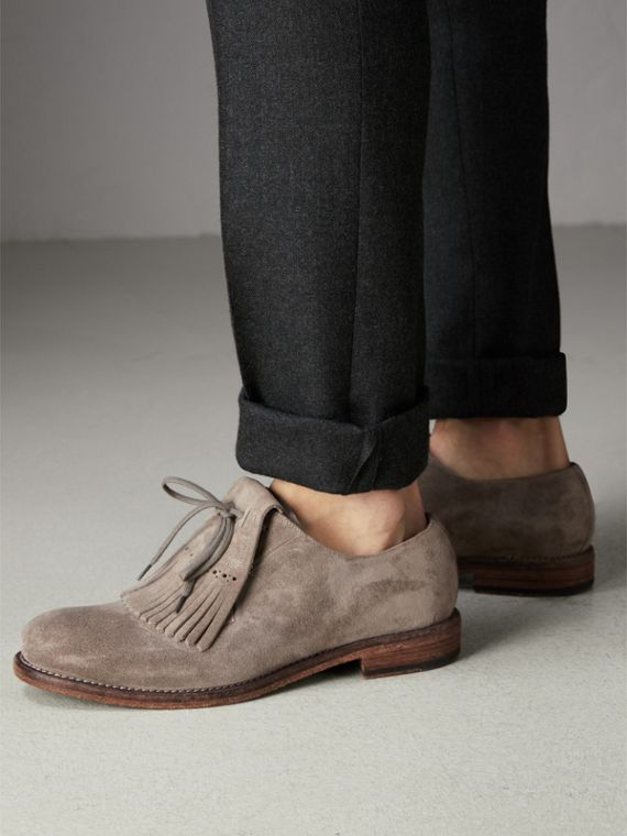 Lace-up Kiltie Fringe Suede Loafers in Steel Grey - Men | Burberry - cell image 2