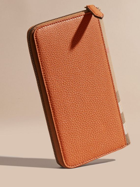 House Check and Grainy Leather Ziparound Wallet Russet - cell image 3
