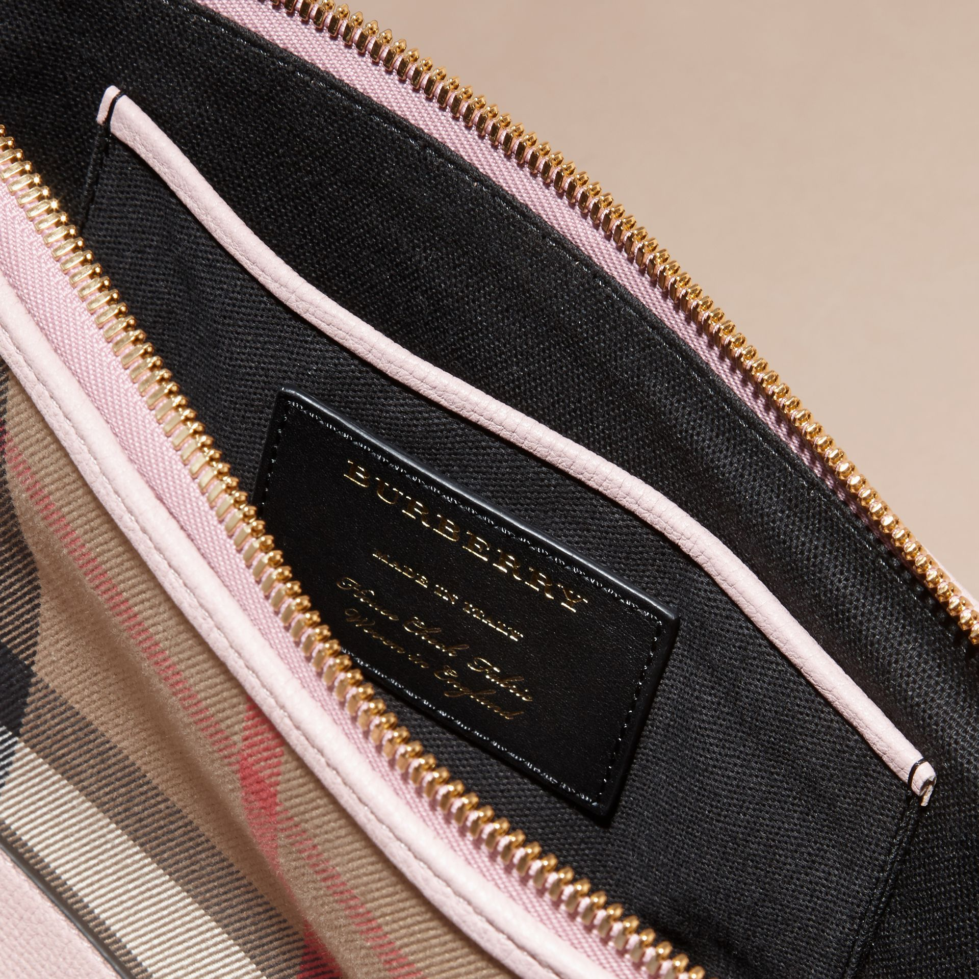 House Check and Leather Clutch Bag in Pale Orchid - Women | Burberry Hong Kong - gallery image 6