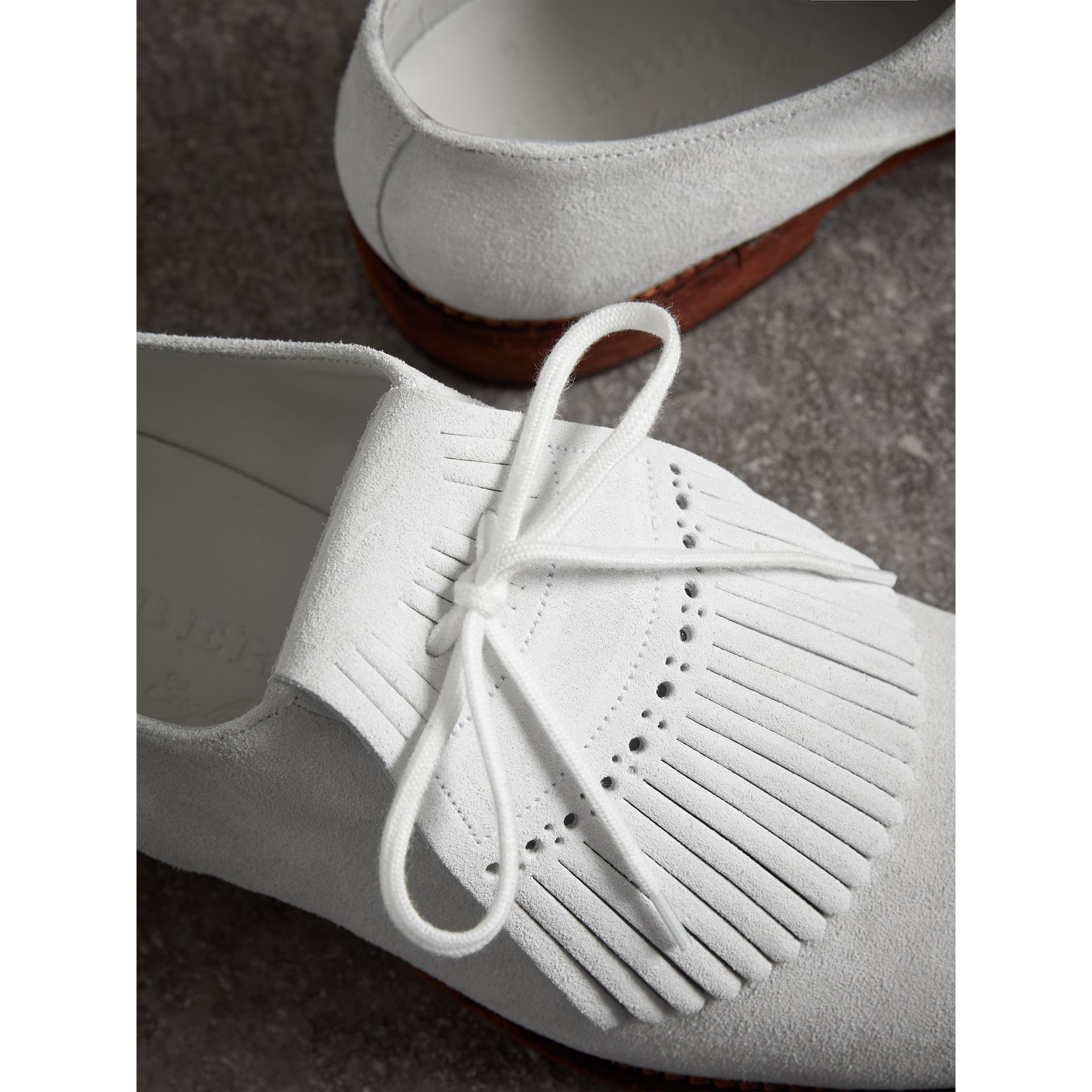 Lace-up Kiltie Fringe Suede Loafers in Off White - Men | Burberry Singapore - gallery image 1