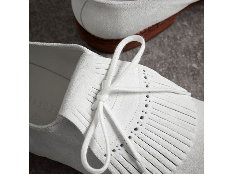 Lace-up Kiltie Fringe Suede Loafers in Off White - Men | Burberry Singapore - cell image 1
