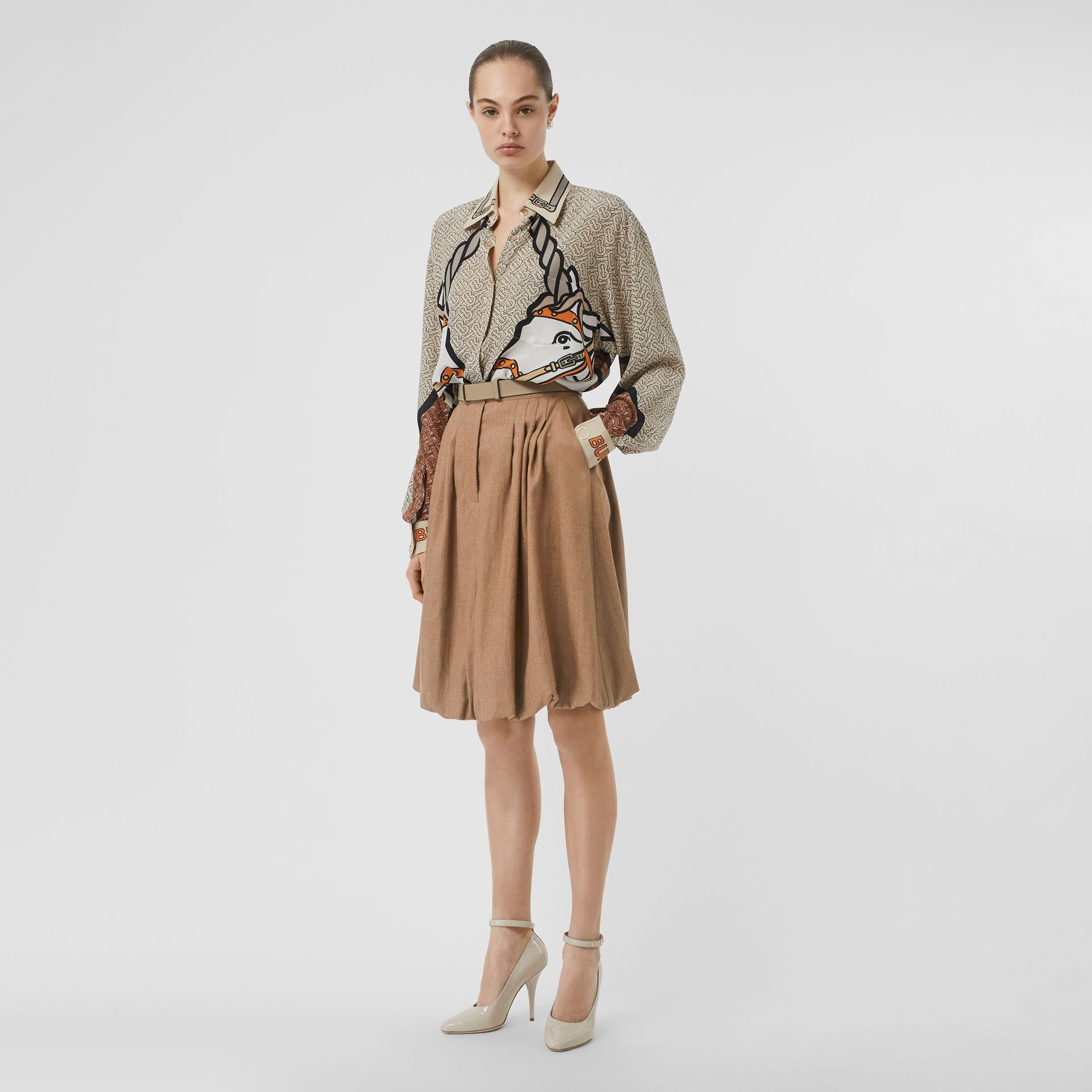 Linen Blend Bubble Hem Skirt in Driftwood - Women | Burberry Australia - gallery image 0