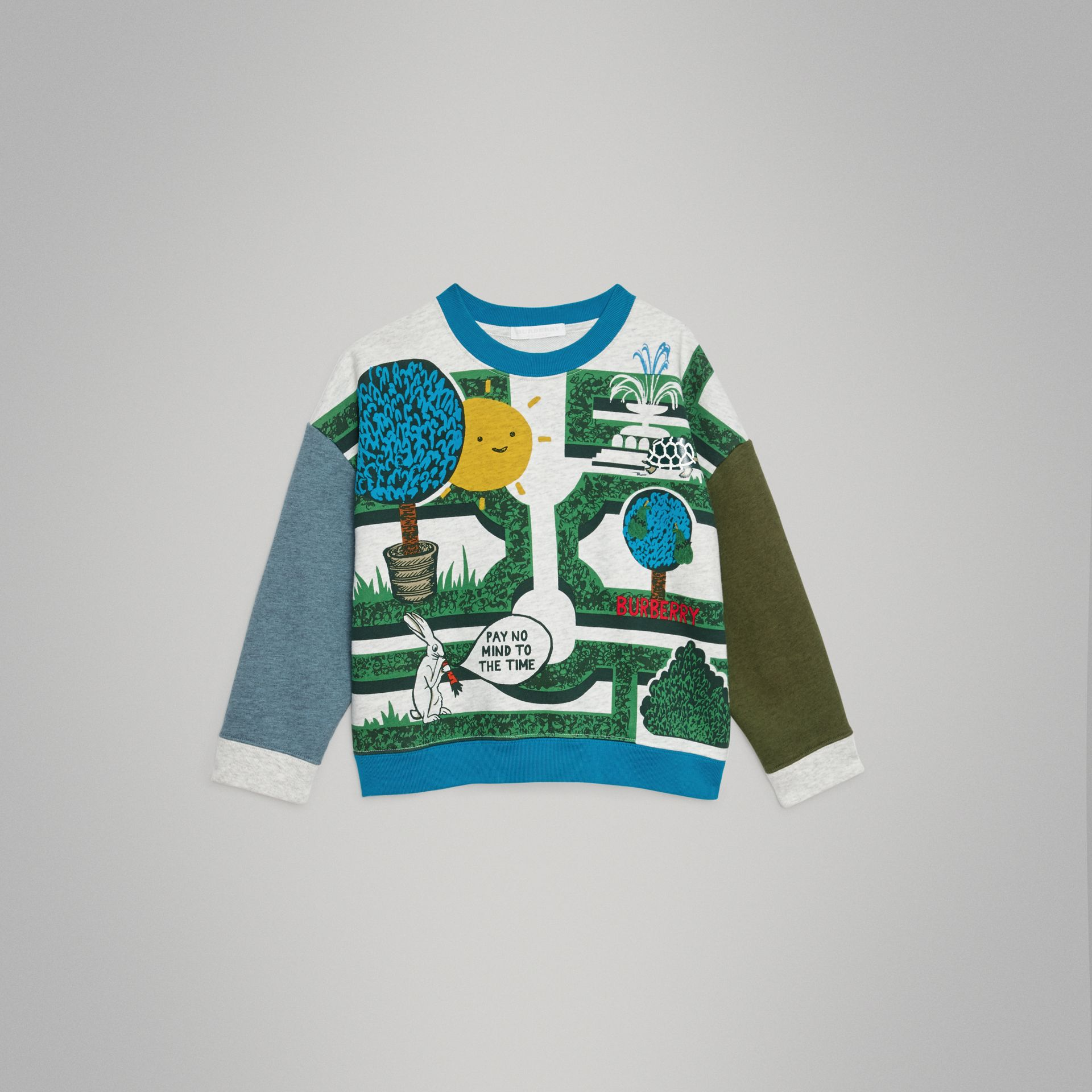 Hedge Maze Print Cotton Sweatshirt in Multicolour | Burberry - gallery image 0
