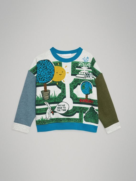 Hedge Maze Print Cotton Sweatshirt in Multicolour