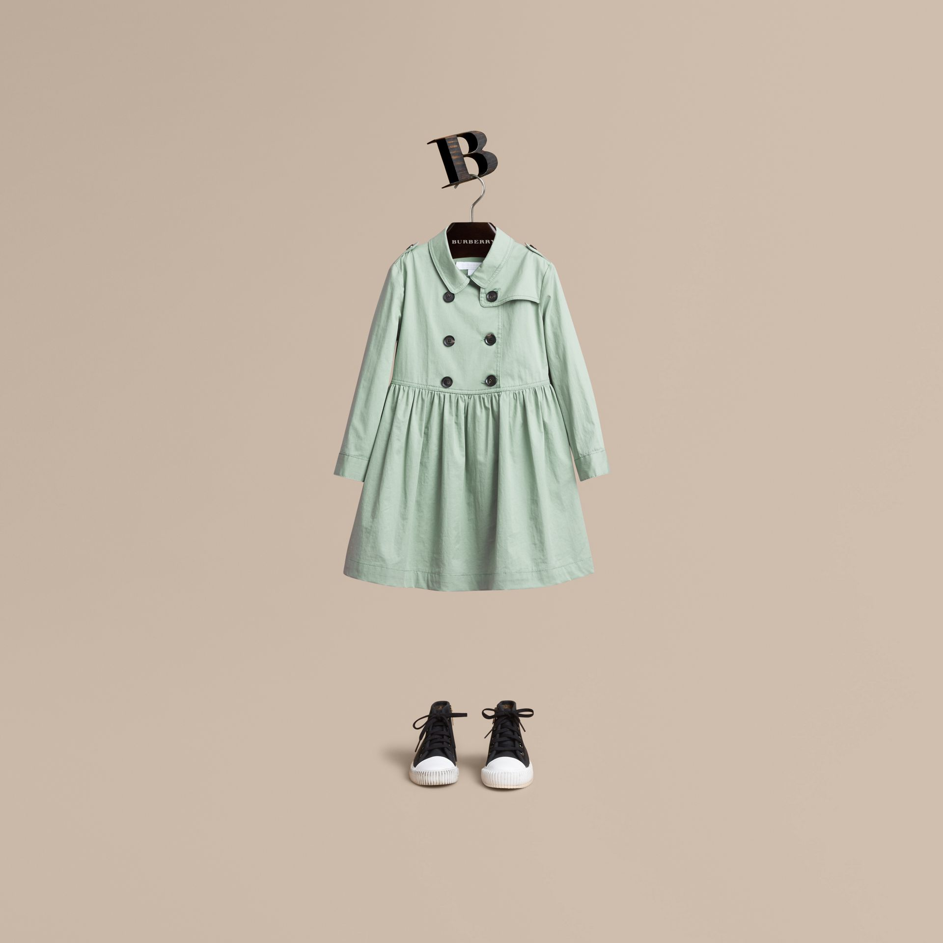 Check Detail Stretch Cotton Trench Dress in Celadon Green - Girl | Burberry - gallery image 1