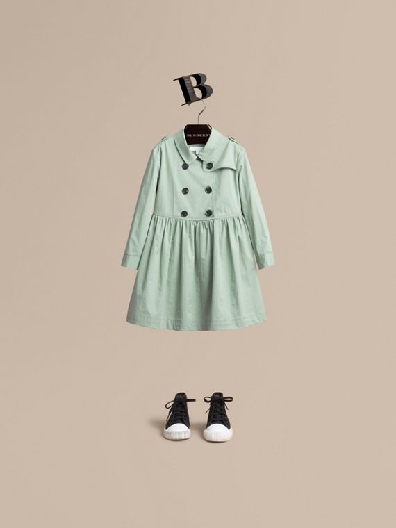 Check Detail Stretch Cotton Trench Dress in Celadon Green