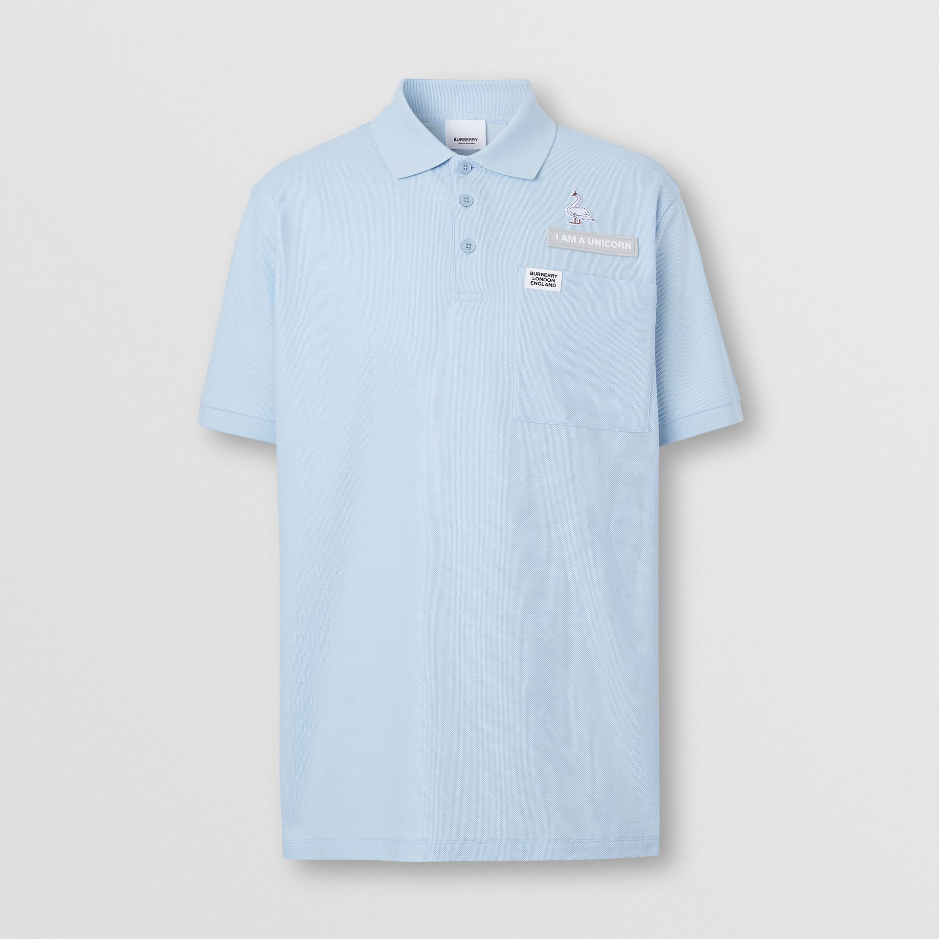 Swan and Slogan Appliqué Cotton Polo Shirt in Pale Blue - Men | Burberry - gallery image 3