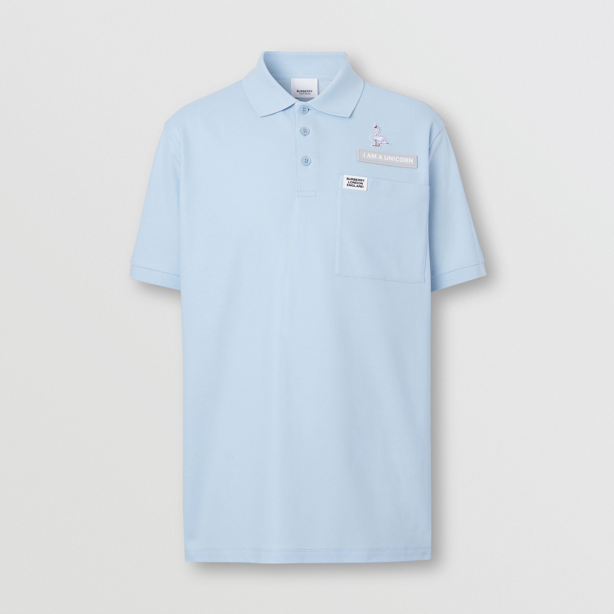 Swan and Slogan Appliqué Cotton Polo Shirt in Pale Blue - Men | Burberry - 4