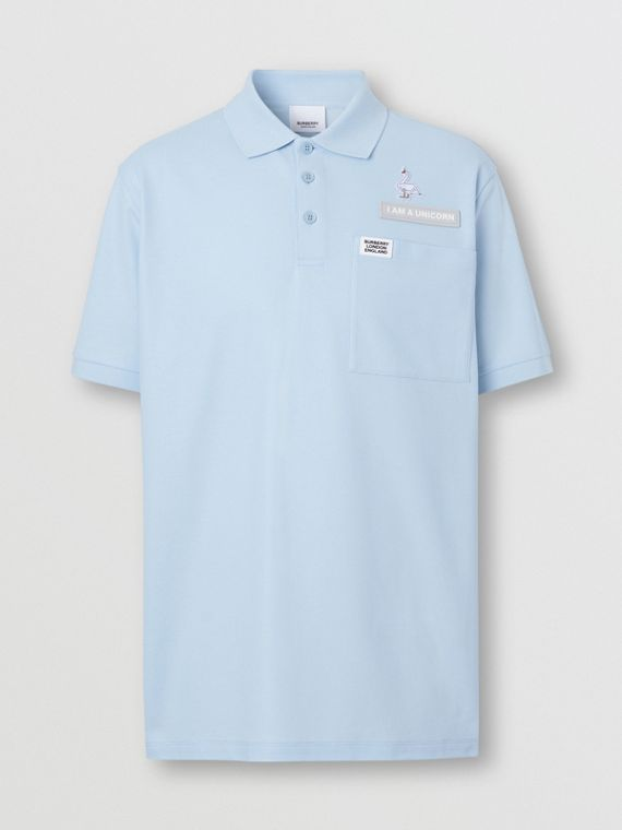 Swan and Slogan Appliqué Cotton Polo Shirt in Pale Blue
