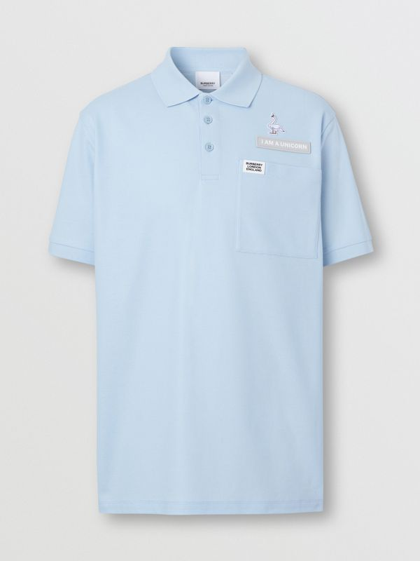 Swan and Slogan Appliqué Cotton Polo Shirt in Pale Blue - Men | Burberry - cell image 3