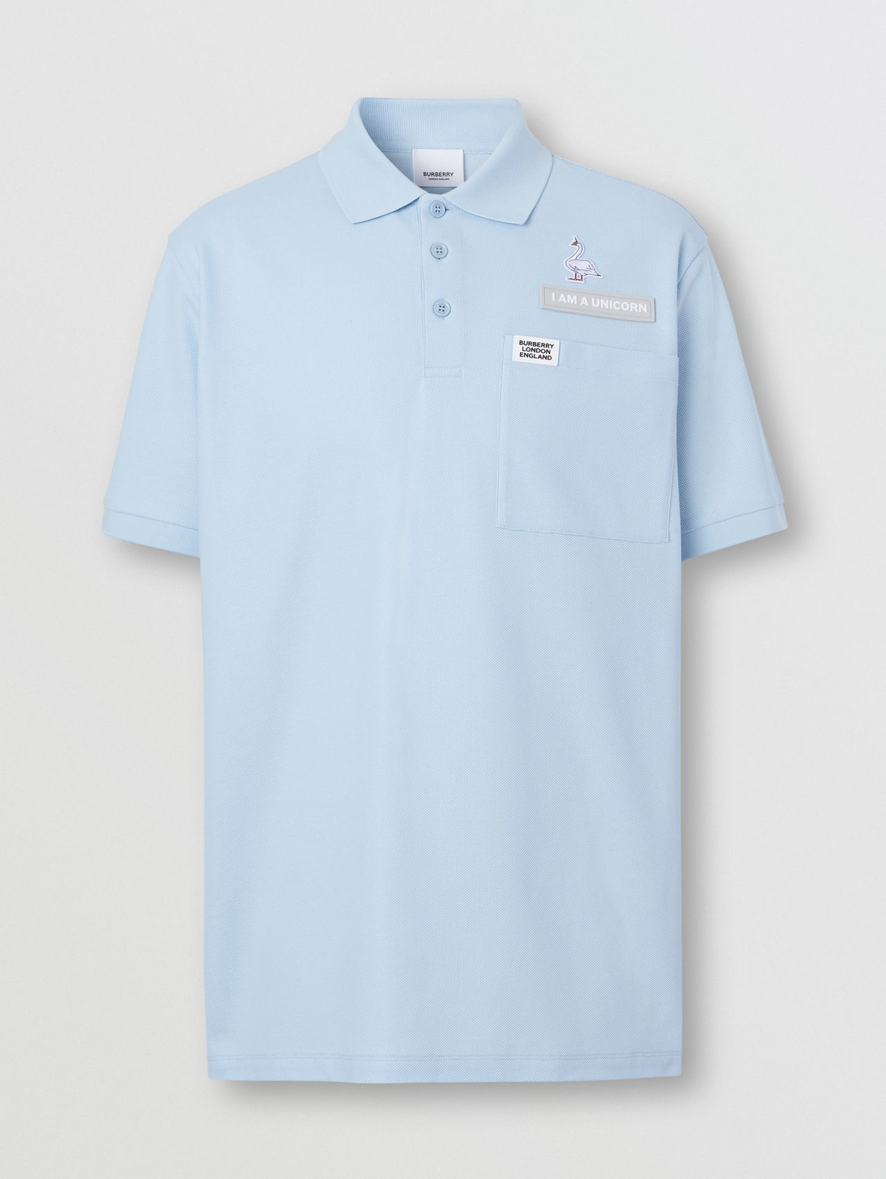 Swan and Slogan Appliqué Cotton Polo Shirt (Pale Blue)